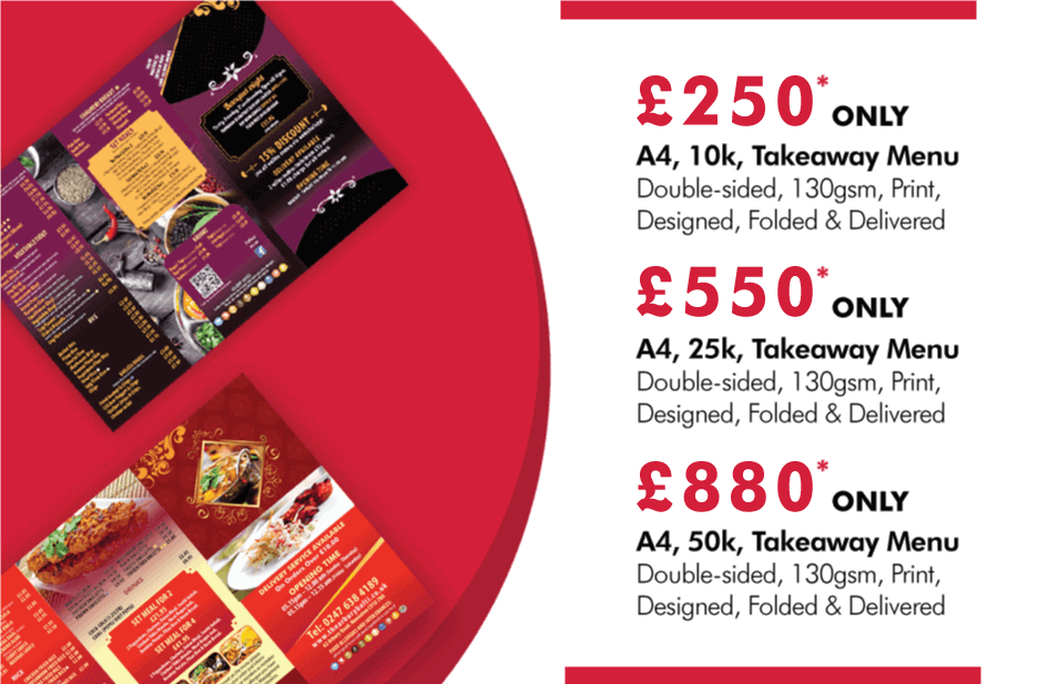 Restaurant & Takeaway Menu Design And                             Printing Service